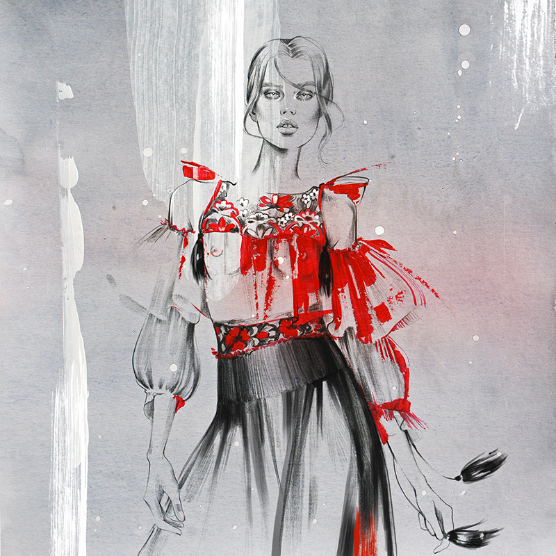 Alina grinpauka fashion illustration for alberta ferretti