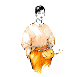 Alina grinpauka fashion illustration jil sander runway full
