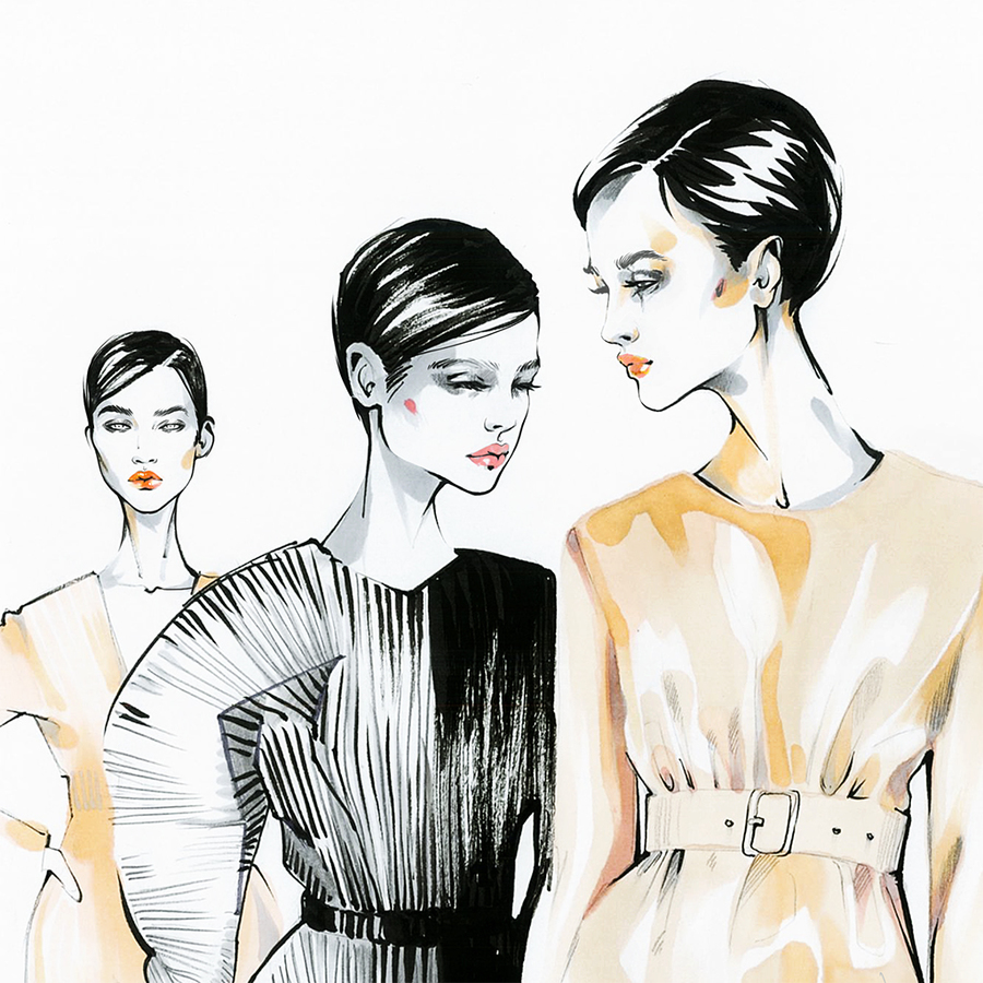 Alina grinpauka fashion illustration jil sander backstage fashion week 2017 spring closeup