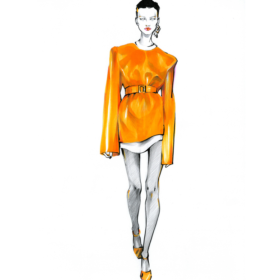 Alina grinpauka fashion illustration jil sander runway preview closeup model