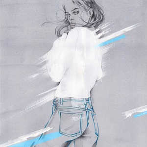 Denim day fashion illustration by alina grinpauka