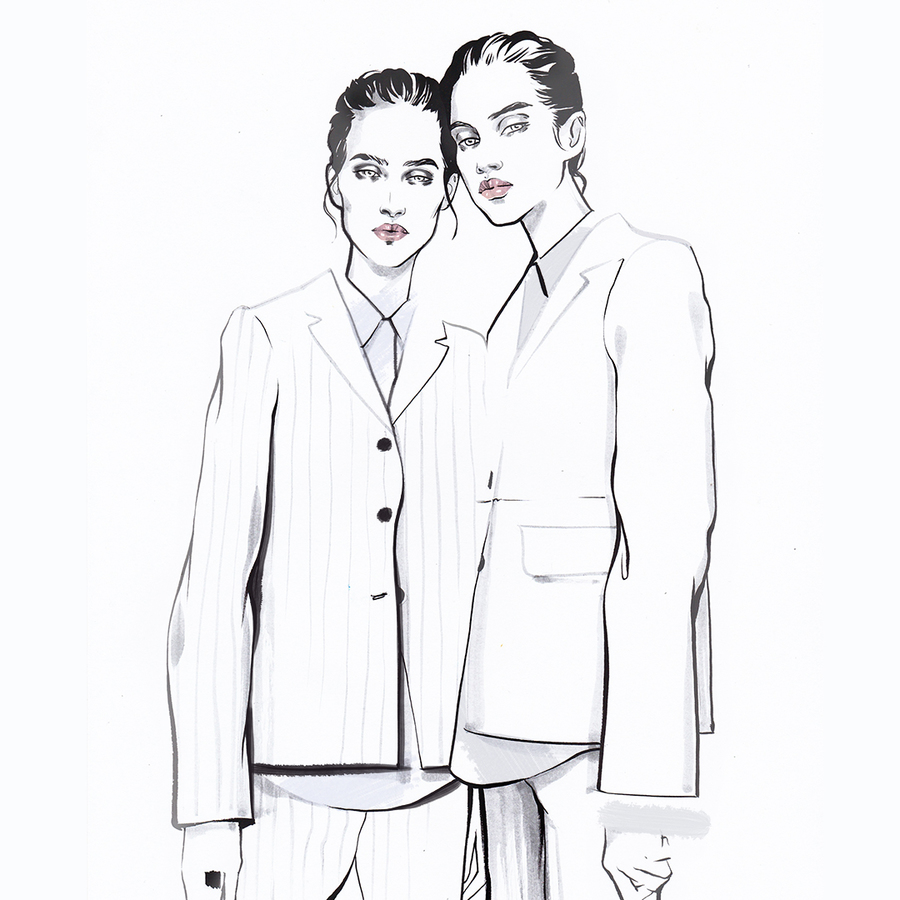 Alina grinpauka fashion illustration pfw jil sander