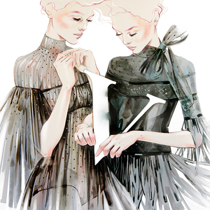 Alina grinpauka fashion illustration for valentino black dress
