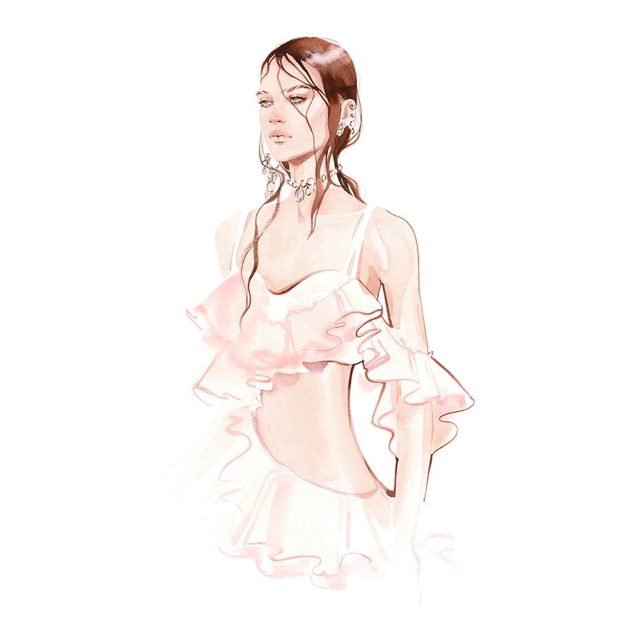 Alexander mcqueen spring 2018 by alina grinpauka fashion illustration %282%29