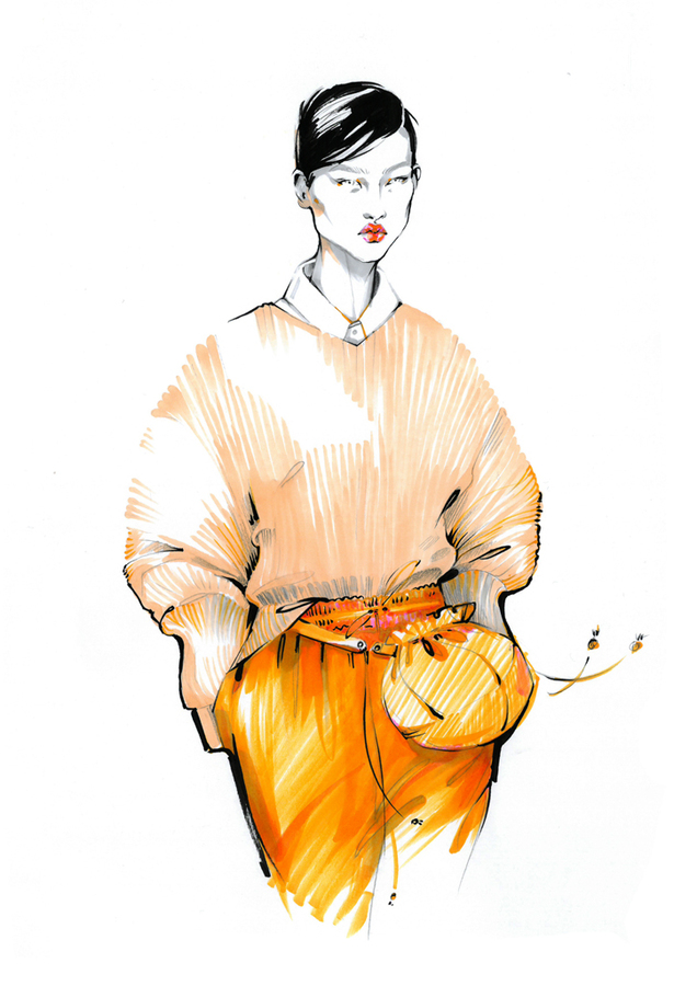 Alina grinpauka fashion illustration jil sander runway