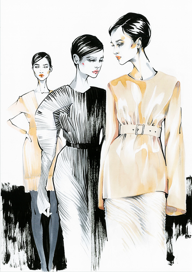 Alina grinpauka fashion illustration jil sander backstage fashion week 2017 spring