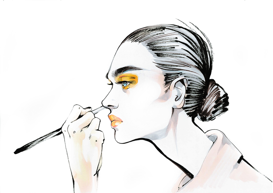 Alina grinpauka fashion illustration elsa schiaparelli paris fashion week 2016 couture
