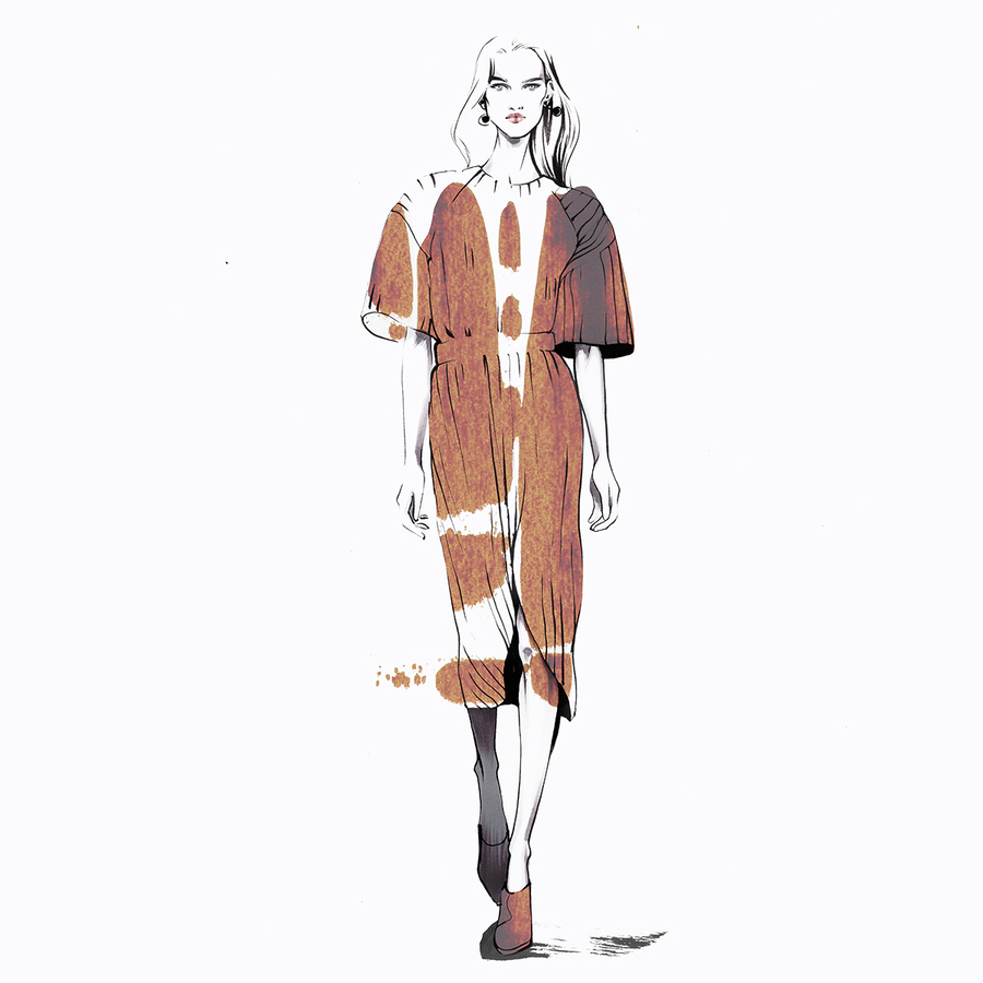Jil sander fashion illustration alina grinpauka small dress